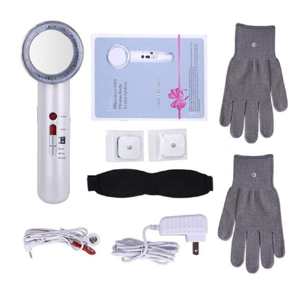 ixaer Anti-aging Facial Care Device Face Lifting Tighten Wrinkle Removal Massager with 1 Pair Magic Gloves and 2 Pair of EMS Pads 7 in 1