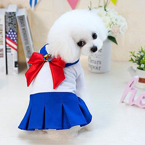 White Sailor Dog Shirt - Pet Dog cat Sailor Moon Clothes Spring Summer Cute School Uniform Skirt Vest Sling Tutu Party Dress Cartoon Printed Girl boy Clothes Sleeveless Cotton Shirt Big Medium and Small Pets (M, Blue)
