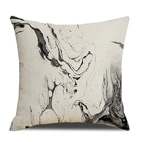 RUOAR Marble Texture Print Throw Pillow Case Black Decorative Square Throw Pillow Cover,Hypoallergenic Pillow Cover Home Decor Design Set Cushion Case for Sofa Bedroom 18''x18'' (123)