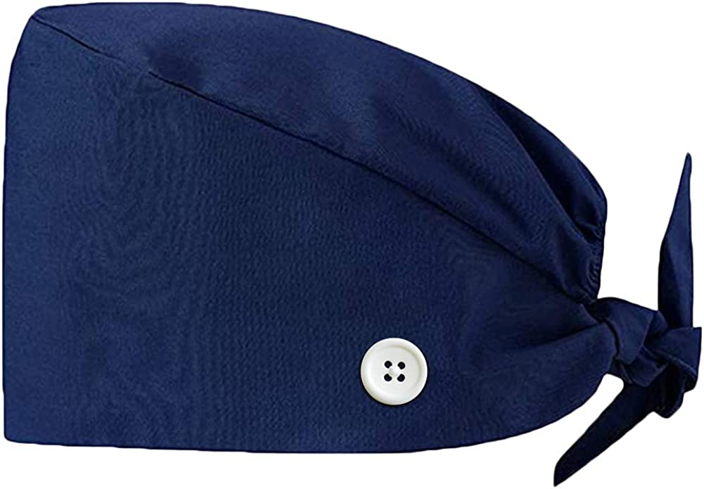 Ztl Working Cap with Buttons Sweatband Adjustable Tie Back Hat Printed for Women Men