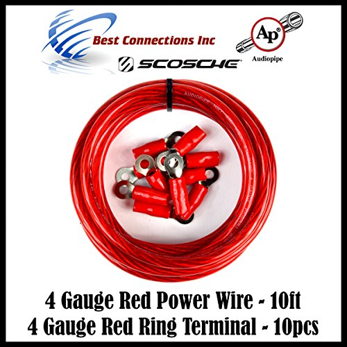 Golf Cart Car 6 to 80 Volt 4 Gauge Red Battery Cable Wiring Ring Terminals