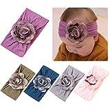 DANMY Baby Girl Nylon Headbands Newborn Infant Toddler Hairbands with Bows Children Hair Accessories (Nylon flower10 (5pcs))