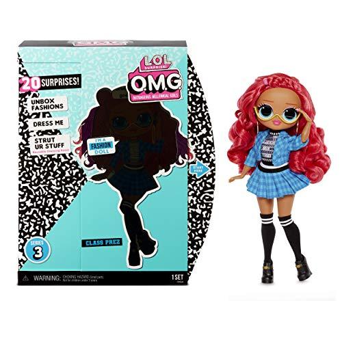 LOL Surprise Muñecas de Moda Coleccionables para Niñas , Con 20 Sorpresas y Accesorios , Class Prez , OMG Serie 3