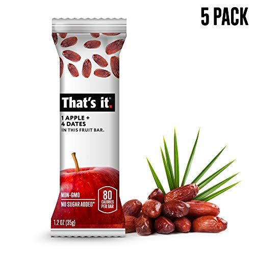 That's it. Apple + Date Fruit Bars 100% All Natural, No Artificial Ingredients or Preservatives Delicious Healthy Snack for Children & Adults, Vegan, Gluten Free, Paleo, Kosher, Non GMO (5 Pack) For Sale
