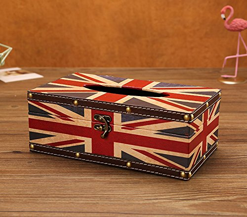 LANGUGU Vintage Chic Shabby Wooden Tissue Box Holder Rectangle Handcraft Tissue Paper Box Cover Napkin Organizer Holder Home Storage Room Office Car Decoration with Metal Lock (British Banner - A) ()