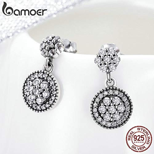 Oseni 100/% 925 Sterling Silver Radiant Elegance Round Geometric Stud Earrings for Women Sterling Silver Jewelry Gift SCE402