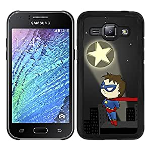 Funda carcasa para Samsung Galaxy J1 diseño superhéroe borde negro