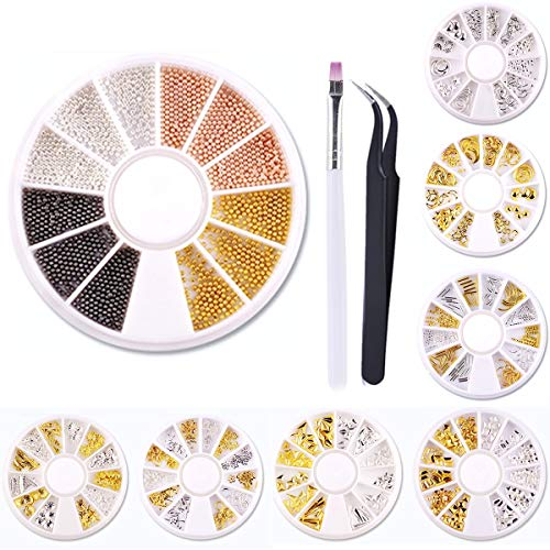 8 Wheels Manicure Nail Art Studs Kit - Silver & Gold 3D Metal Nail Studs Star Moon Rivet Starfish Shell Hollow Feather Punk Nail Art Jewels Decoration with a Tweezer and a Nail Brush