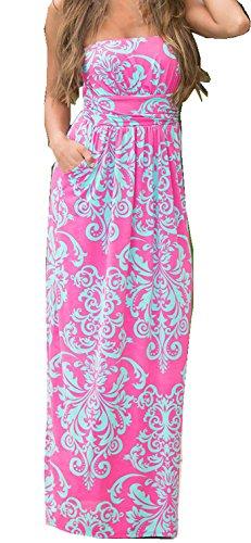 Strapless Maxi Dress Vintage Floral Print, Red, Medium