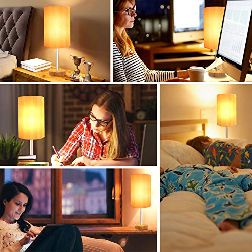 USB Table Lamp,Touch Control Lamp with 3 USB Charging Ports and 2 AC Outlets,Dimmable Bedside Nightstand Lamp with Wooden Base,Perfect forBedroom,Living Room,Office,Study Desk(8W LED Bulb Included)