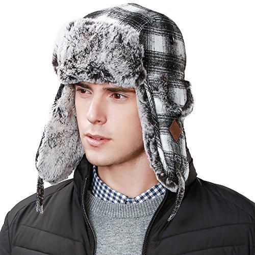 Mens Earflap (IGGI Unisex Earflaps Trapper Hat Faux Fur Hunting Hat Fleece Lined Thick Plaid,Medium,89079_black)