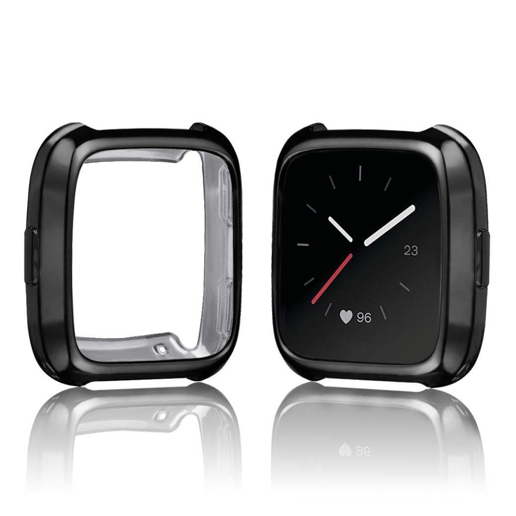 ... TPU de Recubrimiento Suave Funda Protectora de Silicona para Fitbit Versa Fundas Protector de Carcasa Reloj (Negro): Amazon.es: Deportes y aire libre