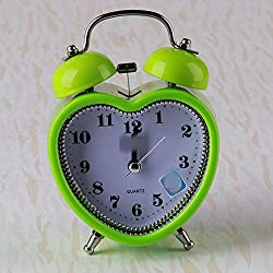 Huhgue Bell Alarm Clock for Kids Lovely Silent Heart Shape Alarm Clock with Night Light for Kids Children Students (Green)