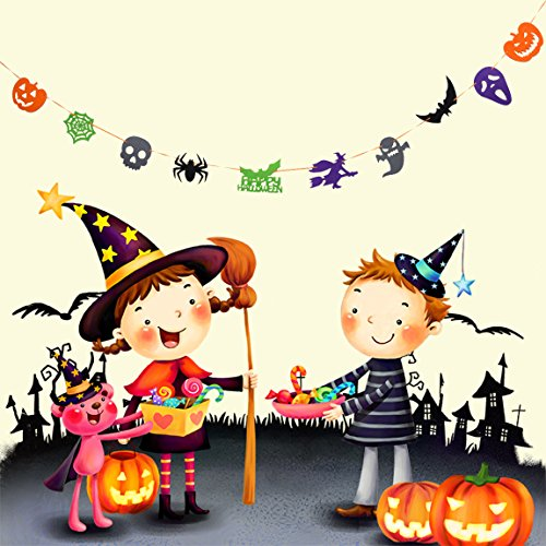Halloween Banner Felt 1 Set Halloween Decoration Pumpkin Spider Ghost Bat Skull Witch Shape Decor Garland Part 1 (Spider Garland)