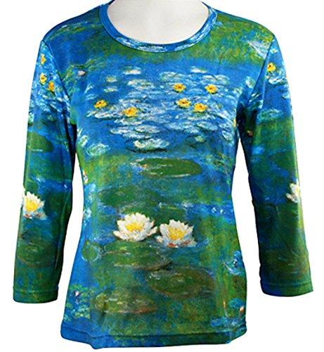 Breeke - Monet Water Lilies, 3/4 Sleeve Scoop Neck Hand Silk Screened Art Top