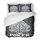 SanChic Duvet Cover Set Ace Dark Vintage Poker Badge Western Style Grunge Effects Can Be Easily Removed Amount Decorative Bedding Set with 2 Pillow Shams Full/Queen Size