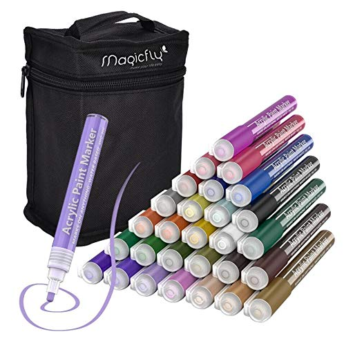 Acrylic Paint Pens for Rocks Painting, Magicfly 28 Colors Water-Based Acrylic Marker for DIY Craft Projects, Canvas, Wood, Glass, Paper, Ceramic, Fabric, and More