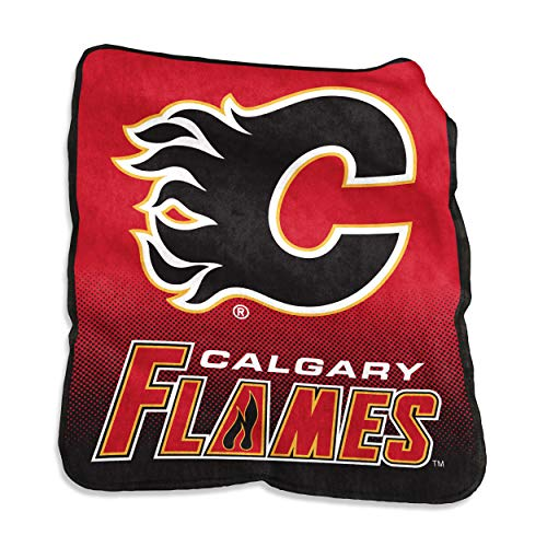 (Logo Brands 805-26A NHL Calgary Flames Plush Raschel Throw with Large Logo Blanket, Multicolor, 50