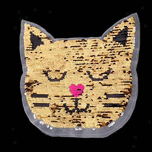 Cat Design Reversible Change Color Sequins Sew On Patches for Jackets - Chenille Jacket Reversible