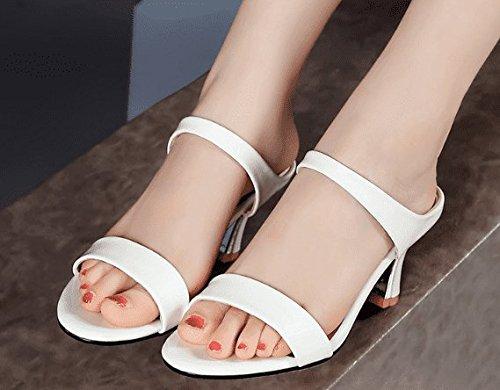 AWXJX Sommersaison Frauen Flip Flops Baotou Hälfte Weiß Ziehen Flachbild äußeren Verschleiß Weiß Hälfte 5.5 US/35.5 EU/3/UK - 18b587