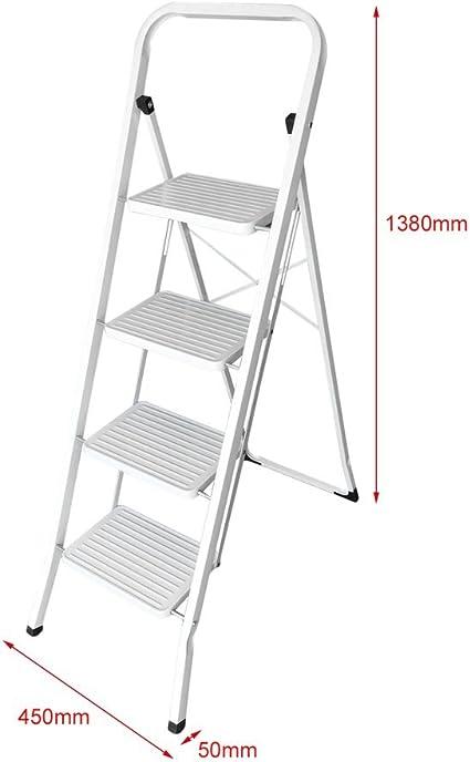 Blackpoolal Aluminio Escalera Escalera 4 Peldaños Escalera Escalera Plegable de hasta 150 kg Plata: Amazon.es: Bricolaje y herramientas