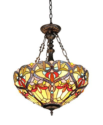 Chloe Lighting CH33352VR18-UH2 Byron, Tiffany-Style Victorian 2-Light Inverted Ceiling Pendent, 18-Inch, Multi-colored by Chloe Lighting - Inverted Pendent