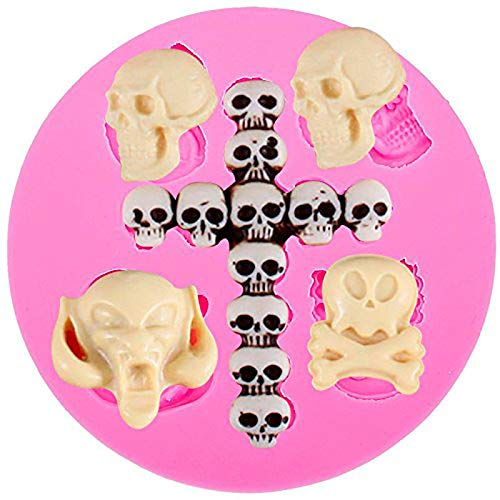 Anyana Halloween Skull head cross fondant Candy Silicone Moud for Sugarcraft, Cake Decoration, Cupcake Topper, Fondant tools, Jewelry, Polymer Clay, Crafting Projects, Non stick easy to use for $<!--$13.99-->