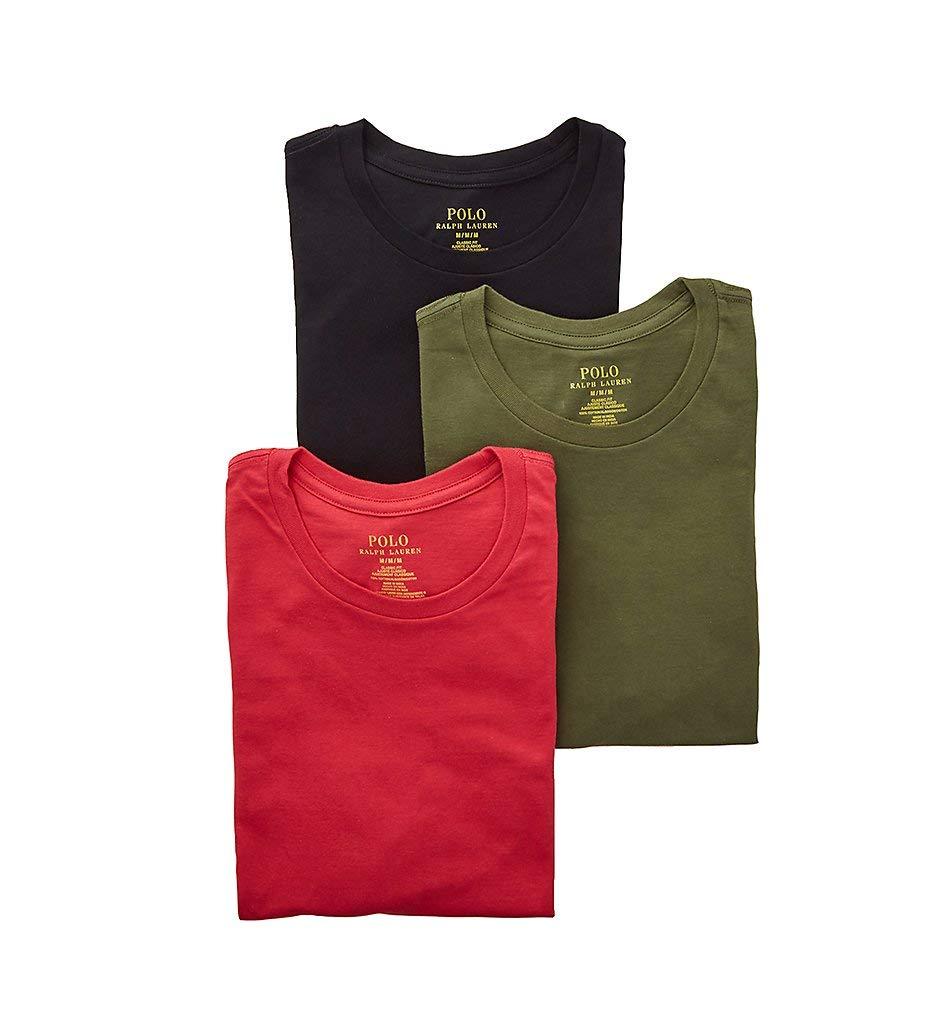 Polo Ralph Lauren Classic Fit Cotton Crew Neck T-Shirts - 3 Pack (RCCNS3) L/Sunrise Red/Sage/Black by Polo Ralph Lauren