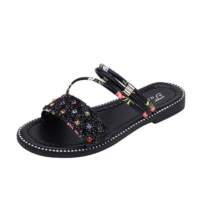 VENMO Frauen Pailletten Flache Ferse Anti Skidding Schuhe Strandschuhe Sandalen Slipper Zehentrenner Sommerschuhe