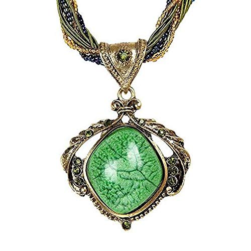 Windoson Deals Necklace Womens Natural Gemstone Crystal Reiki Silver Stone Bead Pendant Necklace Jewelry (Green)