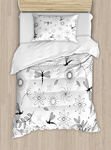 (Ambesonne Dragonfly Duvet Cover Set Twin Size, Ethnic Bohem Inspired Flying Butterfly Like Bugs and Flowers Dandelion Image, Decorative 2 Piece Bedding Set with 1 Pillow Sham, Black and)