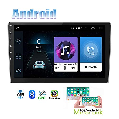 Hikity Android Double Din Car Stereo with GPS Navigation 9 Inch Touch Screen Radio Bluetooth FM Radio Support WiFi Connect Mirror Link for Android/iOS Phone with Dual USB Input + Backup Camera