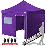 Eurmax 10×10 Ez Pop Up Canopy Outdoor Canopy Instant Tent with 4 zipper Sidewalls and Roller Bag,Bouns 4 weight bags, Purple For Sale
