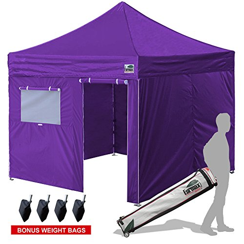 Eurmax 10x10 Ez Pop Up Canopy Outdoor Canopy Instant Tent with 4 zipper Sidewalls and Roller Bag,Bouns 4 weight bags, Purple