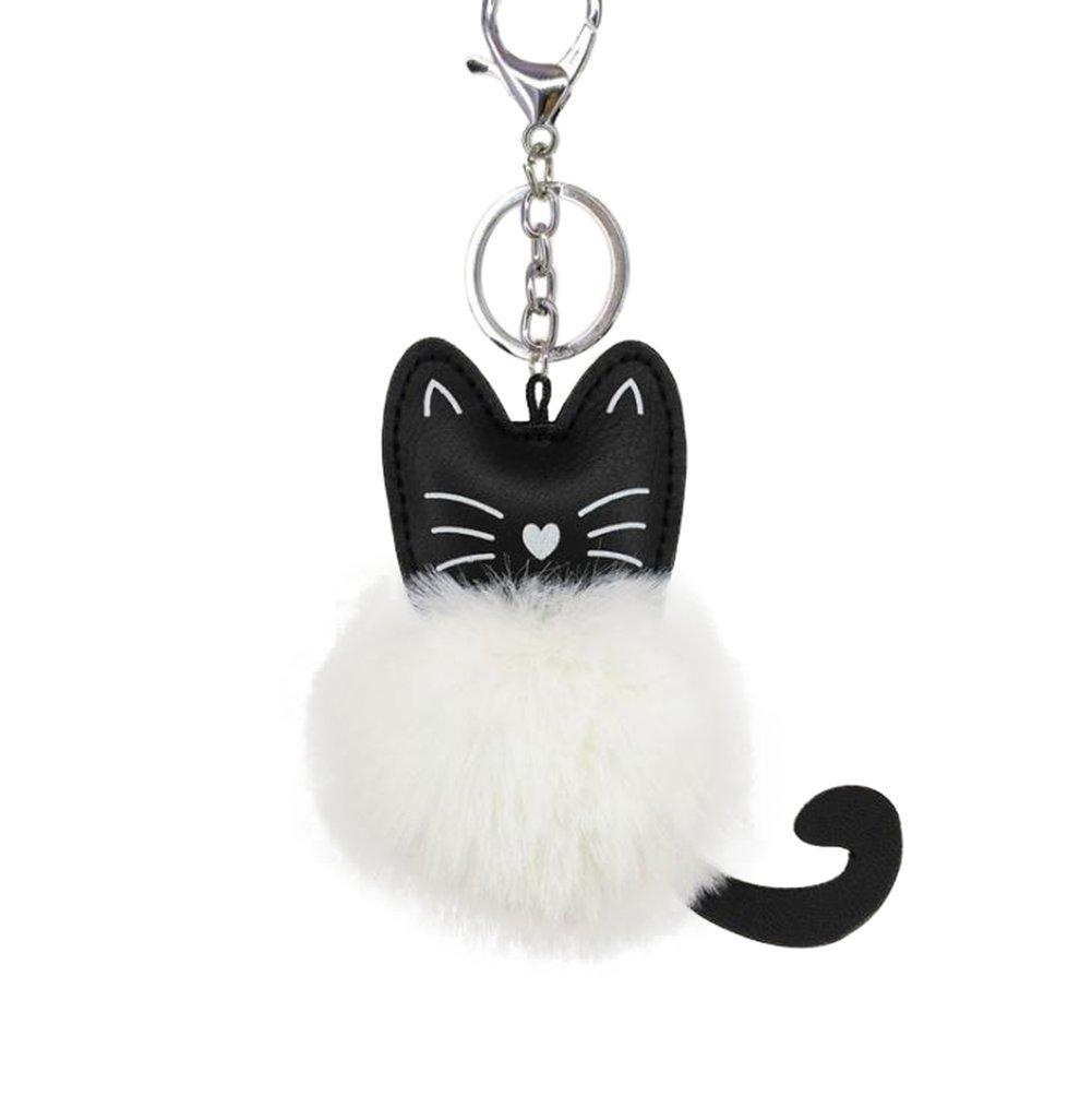 Outflower 1pcs Carino nero PU Cat portachiavi plush pendente peluche palla donne borse pacchetto auto chiavi ornamenti