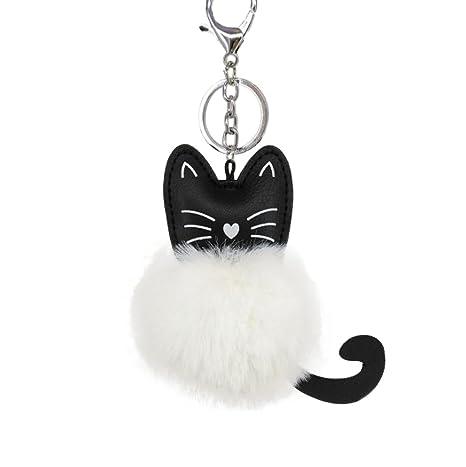 Nikgic 1pc Lindo gato de felpa llavero bola de peluche llavero bolsa llavero coche adornos
