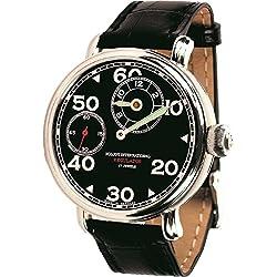 POLJOT Int Regulator Reloj de pulsera Hombre Mecánicocuerda manual Cuero Negro