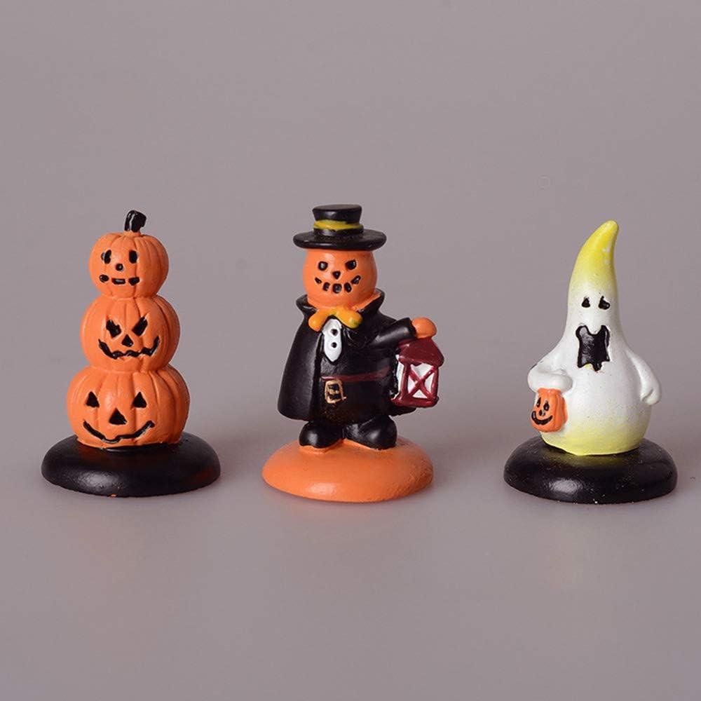 Luckycivia 3 Pcs Halloween Miniature Pumpkin Figurines, Doll House Miniature Pumpkin Ornaments, Fairy Garden Miniature Accessories, Halloween Party Decorations