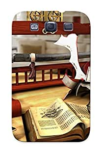 Christmas Gift - Tpu Case Cover For Galaxy S3 Strong Protect Case - Art Glasses Book Table Wine Helmet Sword Goblet Katana Asian Design