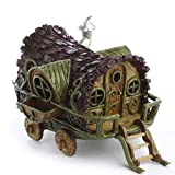 Whimsically Detailed Painted Resin Miniature Gypsy Wagon with Detachable Steps for Displaying, Crafting and Creating by Unknown