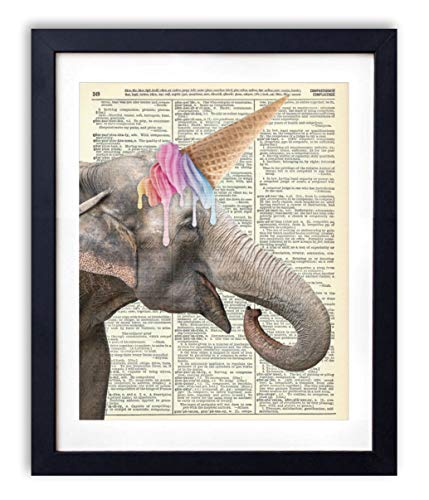 Elephant Unicorn With Ice Cream Cone Upcycled Vintage Dictionary Art Print For Kids Bedroom and Nursery Wall Art Home Decor 8x10 Inches, Unframed (Antique Ice Cream)