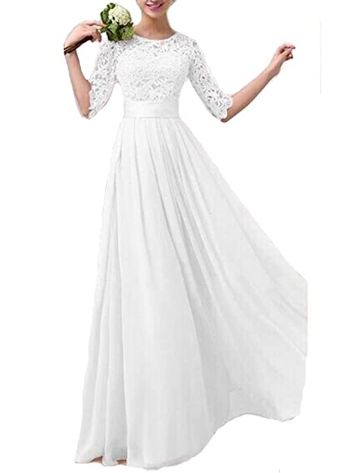 Vintage Style Wedding Dresses, Vintage Inspired Wedding Gowns Crochet Lace 1/2 Sleeve Tunic Bridesmaid Formal Gown Chiffon Long Dress $22.62 AT vintagedancer.com