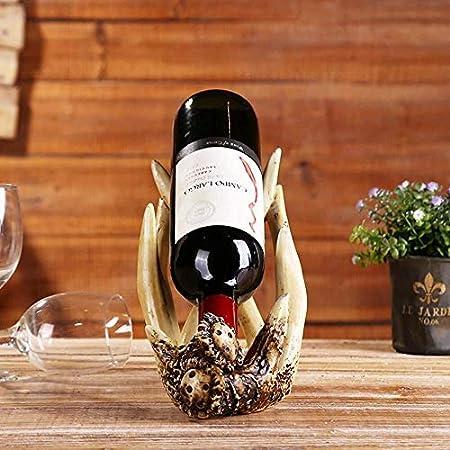 Estantería de vino Titular de la botella de vino, American Retro cornamenta estante del vino creativo del estante del vino Regalo de resina hecha a mano artesanales adornos del interior estante de vin
