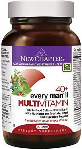 New Chapter Men's Multivitamin, Every Man II 40+, Fermented with Probiotics + Selenium + B Vitamins + Vitamin D3 + Organic Non-GMO Ingredients - 96 ct