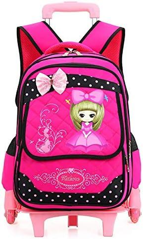Geromg Lovely Waterproof Backpack Boys Girls Removable Trolley Backpack Children School Bookbag Travel Luggage Bag,six Wheels Rose red