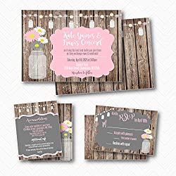 Rustic Mason Jar Daisy Wedding Invitation Suite | Envelopes Included