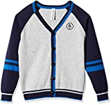 Kid Nation Boys' V-Neck Color Block Cardigan Sweater With Stripes S(5-6) Gray