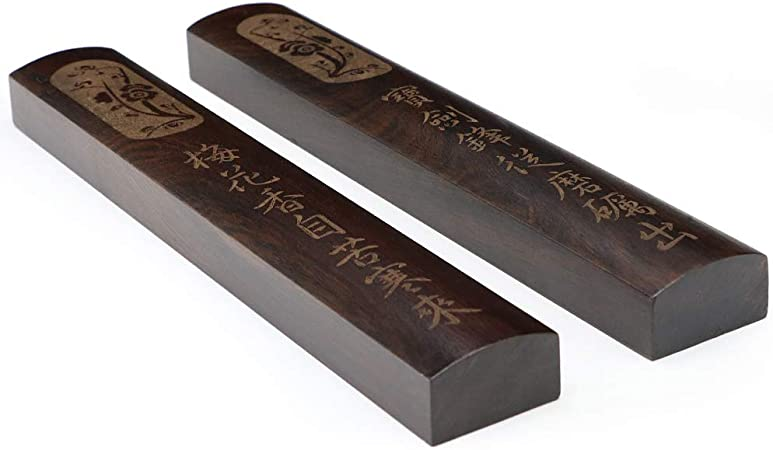 Pair Ebony Wood Paperweights Calligraphy Painting Tool