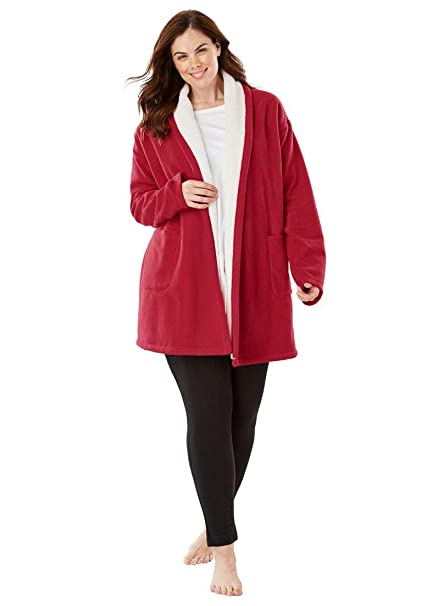 Dreams   Co. Women s Plus Size Sherpa-Lined Microfleece Bed Jacket at  Amazon Women s Clothing store  33b31d02a