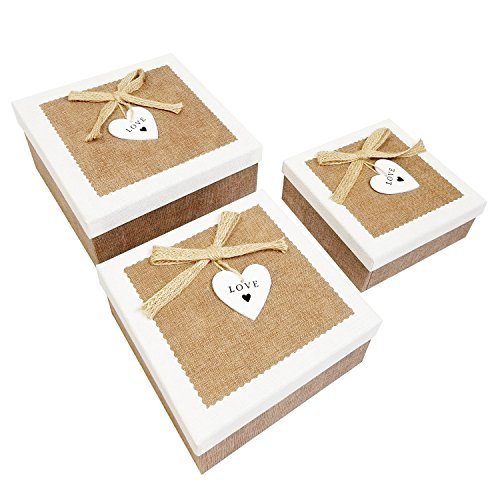 Ikee Design Nesting Gift Square Boxes with Lids 3 Assorted Sizes Ready for Gift Giving